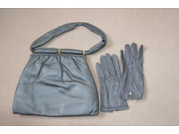 Vintage Jane Shilton leather handbag with matching gloves.