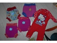 Baby girl Splash About swimming nappies and Hello Kitty swimming suit
