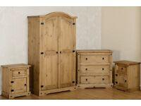 Solid Pine 4 Piece Bedroom set Wardrobe/Cgest Of Drawer/Bedsides BRANDNEW Flatpack Fast Delivery