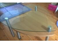 Large glass heart coffee table with swing out second wooden heart