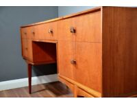 Vintage Midcentury Micntosh petite teak desk / dressing table / drawers. Delivery. Modern / retro