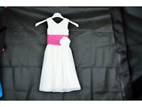 Cute Ivory Flower Girl Dress with Fuchsia Hot Pink Sash and Bow Age 1 - 2 (Ex Shop Sample) Only £10