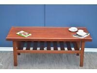 "Vintage ""Myer"" Danish style teak slatted coffee table. Delivery. Retro / Modern / midcentury style."