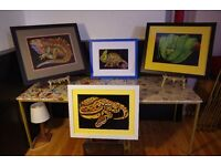 Professionally Framed Large Colored Pencil and Ink Drawn Reptile Prints