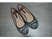 Dorothy Perkins Sparkly Flats Ballerina Shoes size UK5
