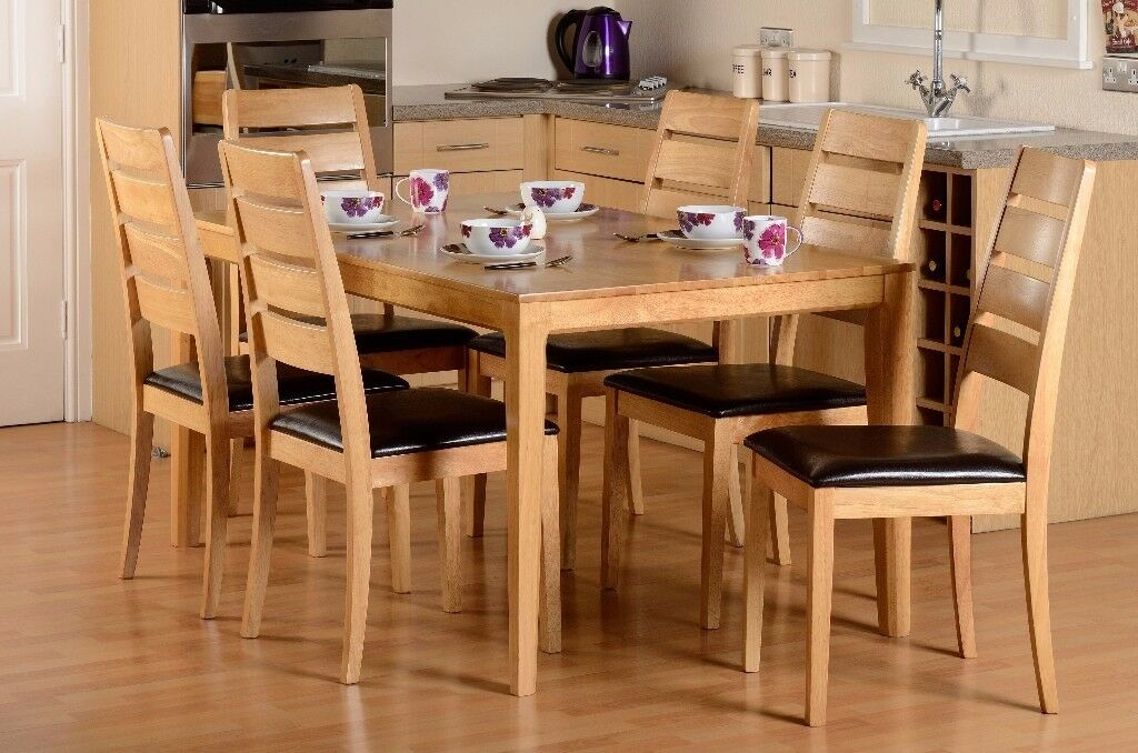 New Solid Hardwood Small Strong Compact Dining Table 4 Chairs With Seat Pads ONLY