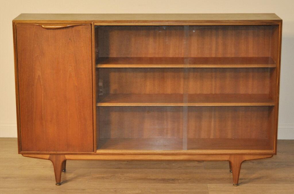 Low Bookcases With Doors: Retro 1960's McIntosh Low Teak Glass Door Bookcase Cabinet