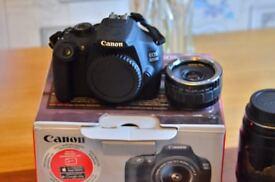 canon camera 1200d dslr with 3 lens telecoverter