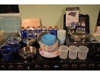 Camping job lot, cooker, plates, pans, etc