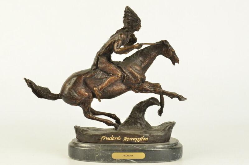 Sculpture/ Warrior BY FREDERIC REMINGTON Bronze Marble Base Statue Figurine Deco
