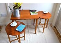 Vintage nest of coffee table and 2 folding side tables. Delivery. Midcentury / Danish /modern style.