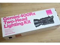 Bowens Gemini 400Rx Two-Head Lighting Kit + Lastolite Superwhite Vinyl Background 2.75x6m