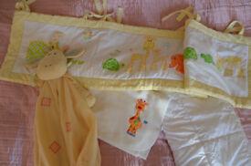 Giraffe Cot Side Bumpers, Blanket, Cot Duvet, Nappy Stacker