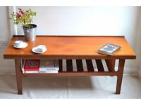 "Vintage ""Myer"" Danish style teak slatted coffee table. Delivery. Modern style."