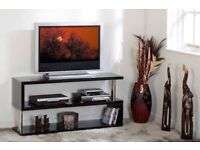 *BRAND NEW BUILT*Black High Gloss/*Chrome Flat Screen TV Stand W1250mm x D400mm x H200