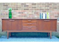Stylish Vintage Danish style teak long sideboard. Delivery. Modern/ Midcentury.