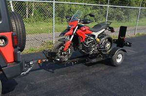 Stinger Folding Motorcycle trailer Folds and stores away good for a scooter to a Harley Ultra Glide