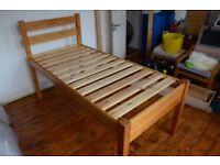 Single Bed-Frame 'Longer Leg' Solid-Wood Pine 'Alphabed'
