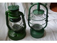 Two Vintage Hurricane Lamps