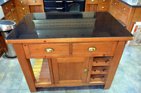 KITCHEN ISLAND CABINET with 12 BOTTLE WINE RACK, DRAWERS and OPEN DISPLAY