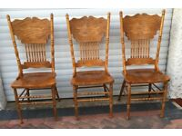 DINING CHAIR ONLY 3 HIGH BACK CARVED NICE GOLDEN COLUOR WITH SPINDLE AND TURNING