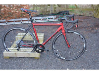 Road race bike, Raleigh Militis Elite, new, ex demo, red/black, 53cm, 2015, Alloy/carbon.