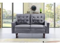 Furniture Sale-Mazz 2 Seater And 3 Seater Sofa Plush Velvet In Grey And Cream Color Available