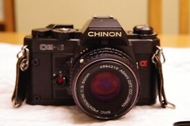 Chinon CE-5 film SLR with Pentax 50mm f/2 lens