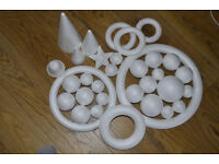 Styrofoam cones, rings, balls, star, shapes to decorate