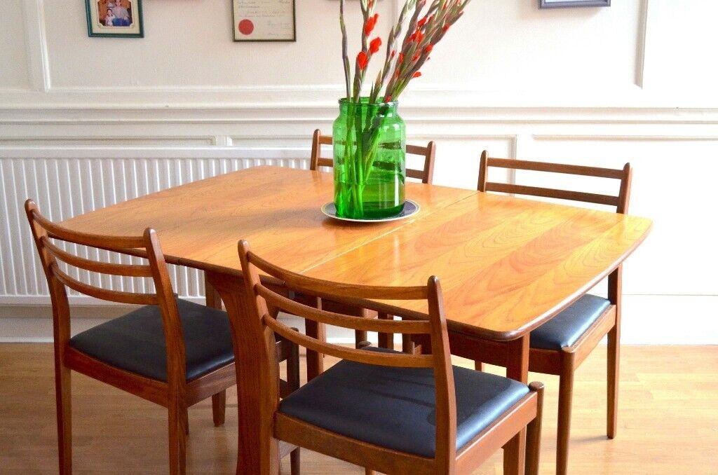 56eaf14c89cd Vintage Midcentury G Plan drop leaf teak table and 4 chairs. Delivery.  Modern   Danish Style.