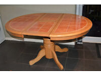 Tile Top Extending Dining Table- 106cm Wide x Length (closed) 107cm - Extended 145cm