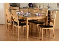 New ALL Solid Hardwood Small 4ft Strong Compact Dining Table & 4 Chairs ONLY £239