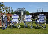 """Hi Gear"" blue and white striped aluminium framed folding / lockable chairs."