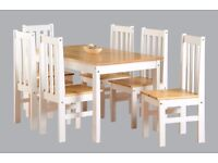 Really nice BRAND NEW dining table with 6 chairs in oak and white finish.can deliver