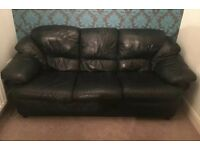 Black leather 3 seater sofa for sale. Collection only. Used but in good condition.