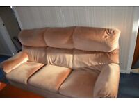 PARKER KNOLL SALMON THREE SEATER SUITE WITH BEECH FRAME
