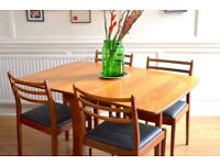 Vintage G Plan drop leaf table and 4 teak. Delivery. Modern / Midcentury / Danish Style.