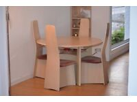 Gplan Circular WhiteAsh table, matching four chairs and corner unit