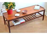 Vintage Danish style teak slatted coffee table. Delivery. Modern / mid century.