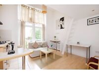 elf contained SPLIT LEVEL studio flat with open plan kitchen and en-suite shower/WC and BALCONY
