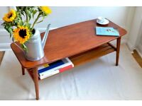 Vintage Danish style two tier teak slatted coffee table. Delivery. Modern / mid century.