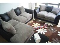 Dylan Right Hand Corner and 2 Seater Fabric and Leather Sofa Range U Shaped Corner Group Setup