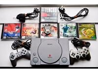 playstation 1, 6 games, 2 controllers, 1 memory card for sale