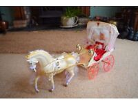 Barbie carriage, horse and Barbie doll