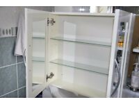 £25 for this white bathroom wall cabinet with mirror on both inside and outside of doors