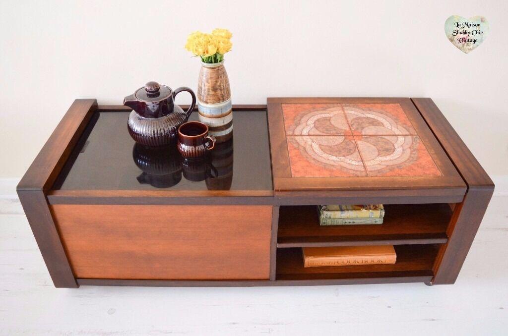 Rare Retro Oak Coffee Table Large Storage Tiled Sliding Top Glass Mid Century