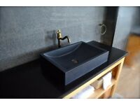 Granite Stone Bathroom Basin Sink 600mm Pure Black TORRENCE SHADOW