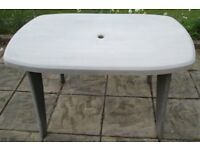 """GARDEN/PATIO - TABLE 48"""" X 31"""" & PAIR MATCHING CHAIRS, sun faded reflected in price, smoke/pet free"""