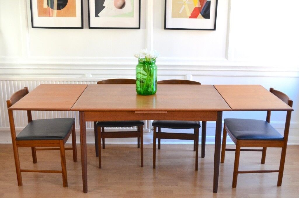 Vintage Danish Extending Teak Table And McIntosh Chairs Delivery - Teak table and 4 chairs