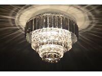 Crystal Prism Flush Ceiling Light - Silver